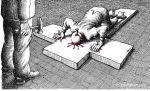 کاریکاتور مانا نیستانی - مصلوب
